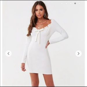 NWT Missguided White Ruffled Bow-Front Mini Dress